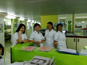 Bhea and her officemates in Dubai Hospital