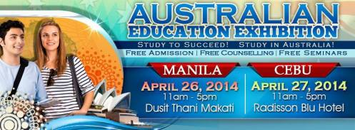 You want to study in Australia? Why not...This is the 2nd World Education Exhibit to be held in Manila and Cebu being sponsored by IDP-Philippines! Come and find out on April 26, 2014, 11am - 5pm at Dusit Thani Makati City; and on April 27, 2014, 11am - 5pm at Radisson Blu Hotel Cebu, Cebu City Click the image for details or call (02) 816-07-55 loc 116.