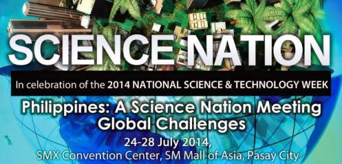"The DOST's 2014 National Science and Technology Week (NSTW) will be held from July 24-28 at the SMX Convention Center, SM Mall of Asia. with the theme: ""Philippines: A Science Nation Meeting Global Challenges."" This premier annual event of DOST will showcase the latest DOST technologies and programs geared towards strengthening the country's manufacturing industries, SMEs, human resource capabilities, e-governance, and disaster preparedness, among others."